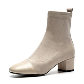 Chunky Heel 2 inch Mid Heels Booties Leather Boots Nude