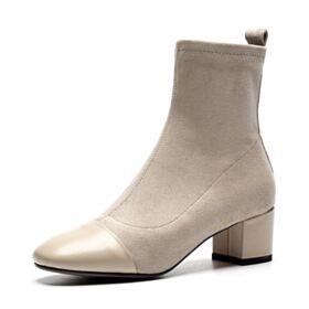 Stiefeletten Gefütterte Mittel Heels Mit Absatz Stiefel