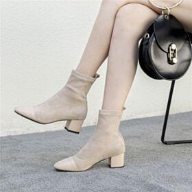 Bottines Bout Rond Bottes Chelsea Chaussures Feemes Talon Mid Talons Carrés