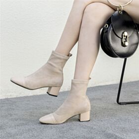 Enkellaarsjes Hakken Huidskleur Middelhoge Hakken Laarzen 5 cm Chelsea Boots Gevoerde Leren Blokhakken