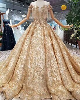 Apliques Dorados Escote V Pronunciado Espalda Descubierta Con Cola Brillantes Lentejuelas Estilo Princesa Elegantes De Encaje Vestidos De Novia