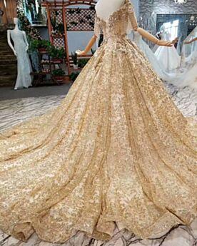 Baljurk Lange Kralen Sparkle Luxe Trouwjurk Gouden Mooie Open Rug Pailletten Kanten Laag Uitgesneden Glitter Franjes