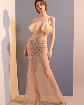 Red Carpet Dress See Through Long With Crystal Sexy Open Back Club Dresses