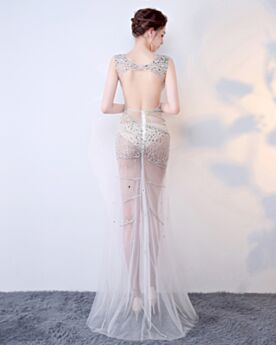 Sheath Sequin Beading Open Back See Through Formal Dresses Long Sexy Hot Dress Silver Gala Dresses Plunge