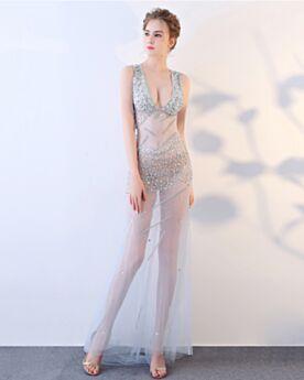 Beaded Sleeveless Sequin Club Dresses Crystal Low Cut Gala Dresses Formal Evening Dress 2019 Light Blue See Through Sheath Backless Sexy