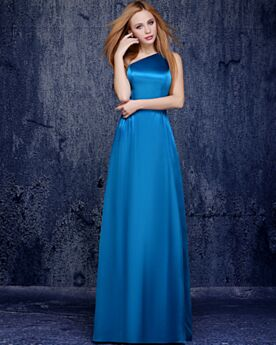 One Shoulder Long Evening Dress Satin Empire Backless Bridesmaid Dress Beautiful Dress For Wedding Guest Sky Blue Simple