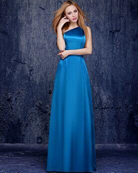 Satijnen Avondjurken Jurken Voor Bruiloft Gast Bruidsmeiden Jurken Empire Een Schouder Open Rug Blauwe Elegante