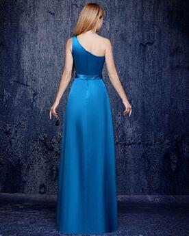 One Shoulder Long Evening Dress Satin Empire Backless Bridesmaid Dress Beautiful Dress For Wedding Guest Sky Blue Simple