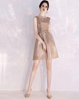 Glitter Brillante Robe De Cocktail Robe De Fête Sans Manches Courte Évasée