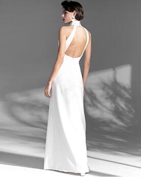 Open Back Sheath Simple Slit Formal Dresses Halter Vintage Long