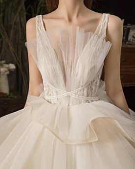 Open Back Tulle With Train Plunge Glitter Bohemian Ruffle Bridal Gown