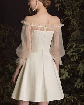 Schlichte Lange Ärmel Satin Rüschen Abschlusskleider Kurze Rückenausschnitt Trauzeugin Kleid