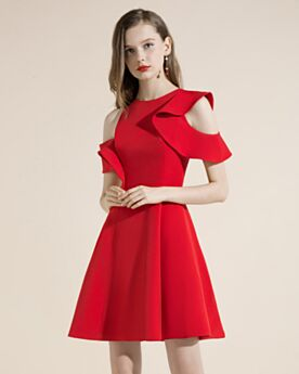 Fit And Flare Simple Hollow Out Short Cocktail Dresses Satin Semi Formal Dresses Juniors Red
