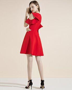 Évasée Robe Cocktail D ete Rouge Courte Simple Satin Robe Pour Mariage À Volants