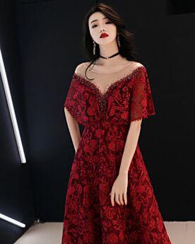 Lace Prom Dress Peplum Rhinestones Luxury Formal Evening Dresses Long
