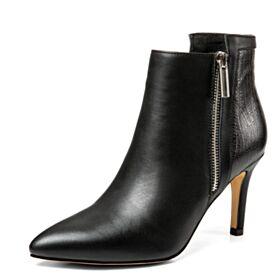 Business Schuhe Stiefeletten Stiefel Stilettos High Heels 2018 Spitz Zeh Krokodil Gedruckt