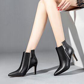 Talon Aiguille Bottines Noir Cuir 2018 Talons Hauts Bout Pointu Chaussures Travail Bottes