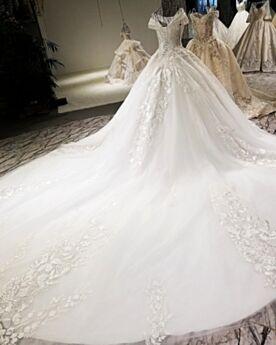 Princesa Con Purpurina Brillantes De Flecos Con Cuentas Lujo Elegantes Con Cola Blancos Largos De Encaje Apliques Escotados Vestidos De Novia