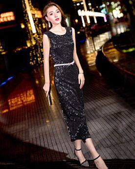 Semi Formal Dresses Sequin Sheath Cocktail Dress Sparkly Black Tea Length Juniors