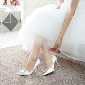 Mit Kristall 2019 Brautjungfer Schuhe Brautschuhe 7 cm Mittel Heels Elegante Weiß Stilettos Pumps