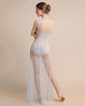Tulle Open Back Tassel Sexy Club Dress High Neck Light Blue Transparent Sequin Long