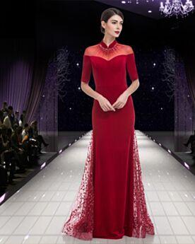 Abendkleider Kleider Hochzeitsgäste Kurzarm Brautmutterkleider Hochgeschlossene Satin Elegante Modest Lange Spitzen Rot