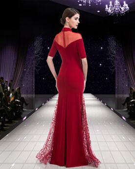 Rojos Encaje Elegantes Vestidos De Madrina Vestidos De Noche Cuello Alto Vestidos De Fiesta Para Invitada Boda Modestos Largos Cristales