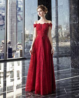 Lange Applikationen Burgunderrot Strasssteine Rückenausschnitt Elegante Kleider Für Festliche Spitzen Off Shoulder Abendkleid Brautjungfernkleid