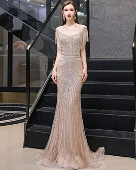 Red Carpet Dress Luxury 2020 Crystal Sweet 16 Dresses Transparent With Rhinestones Mermaid Backless Plunge Champagne