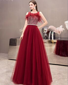 Prom Dresses Empire Tulle Vintage Formal Evening Dress Long Burgundy