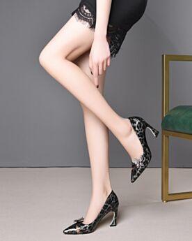 Leopardo De Charol Negro Tacones Altos 8 cm Clasicos De Punta Fina Zapatos Stilettos