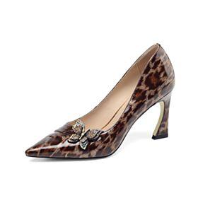 Leoparden Leder Pumps Mit 8 cm High Heels Braun Stilettos Klassisch Spitz Zeh