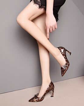 Stiletto Zapatos Tacones Altos Leopardo Marrones