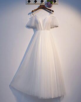 Corte A Largos Vestidos De Graduacion Con Volantes Con Manga Corta Sencillos Escotados De Tul Espalda Abierta Blancos Vestidos De Noche