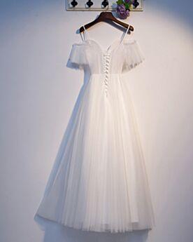 Tüll Tiefer Ausschnitt Spaghettiträger Rückenfreies Abschlusskleider Schlichte Rüschen Weiß Abendkleider Lange