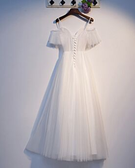 Tulle Organza Simple Spaghetti Strap Backless White Evening Dresses Low Cut Graduation Dress