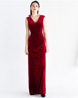 Simple Sleeveless Wedding Party Dresses Velvet Burgundy Empire Vintage Formal Dresses Open Back Modest