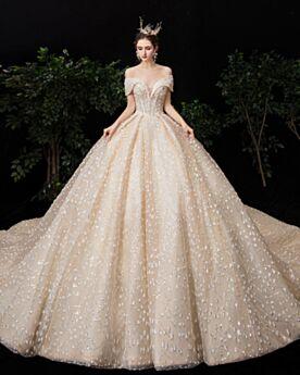 Brautkleider Tüll Rückenausschnitt Glitzernden Tiefer Ausschnitt Luxus Pailletten Glitzer Off Shoulder Applikationen Prinzessin