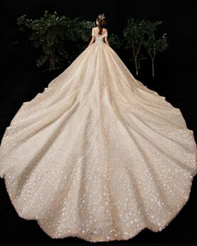 Low Cut Wedding Dress Ball Gown With Train Appliques Glitter Sparkly Luxury Sequin