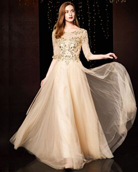 Formal Dresses Tulle Champagne Elegant Long Sequin Bridesmaid Dress For Wedding Appliques