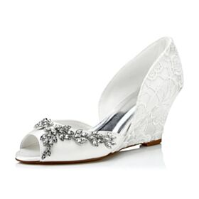 Bridal Shoes Elegant With Crystal Lace Satin Wedges Pumps White 3 inch High Heel