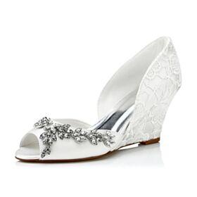Bruidsschoenen Mooie Sleehakken Applique 8 cm High Heel Pumps Witte Peep Toe Kanten