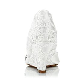 Elegante Satin Peeptoes Absatzschuhe Spitzen Weiß Keilabsatz Brautschuhe