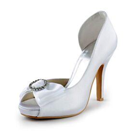 White Charming Bow Pumps Stilettos 10 cm High Heels Satin Bridal Shoes Rhinestones Peep Toe