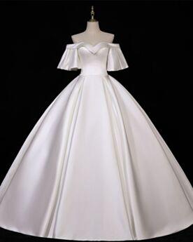 Aライン バックレス レトロ モダン スクエア ネック ウェディングドレス 半袖 シンプル な 白い 8121100883