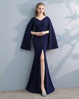 Satin Bell Sleeve 2018 Long Sleeve Elegant Evening Dresses