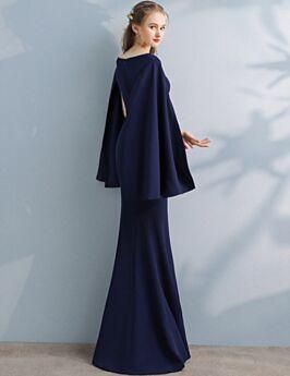 Elegante Lange Etui Satin Abendkleid Brautmutterkleid Modest