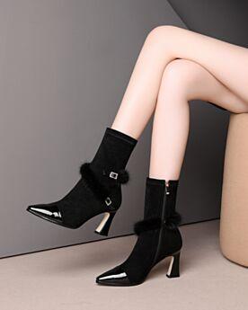 8 cm High Heel Leder Stretch Stilettos Stiefeletten Plüsch Schwarz Spitz Zeh Business Schuhe Sock Boots
