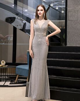 Evening Dresses Sleeveless Silver Christmas Dress Beading Sheath Sequin Open Back Gorgeous Low Cut Sparkly