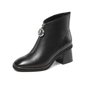 Business Schuhe Damen Gefütterte Schwarz Blockabsatz Chelsea Chunky Heel Leder Ankle Boots Comfort Runde Zeh